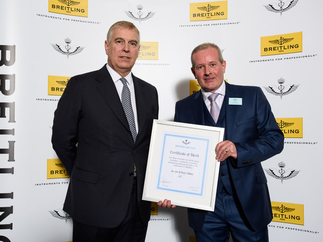 HRH Prince Andrew presenting RAeC Award to Lee Moore